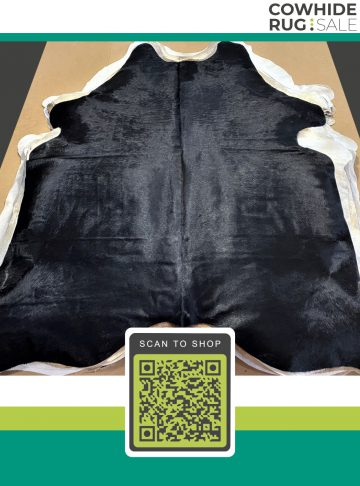 Black Large Sized Cowhide Rug 6′ x 7′ BL-AS-485-3
