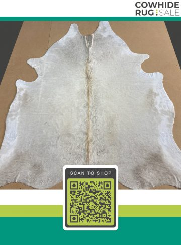 Ivory White Large Brazilian Cowhide Rug 6′ x 7′ IW-475-32