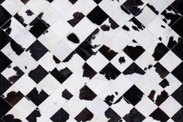 Black White Cow Mosaic Rug