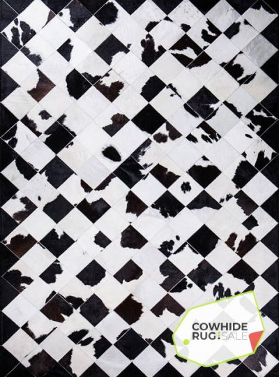Black White Cow Mosaic Rug