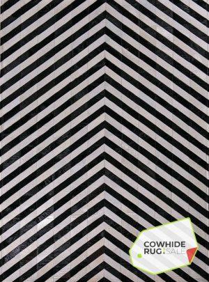 Black and White V Stripe Rug