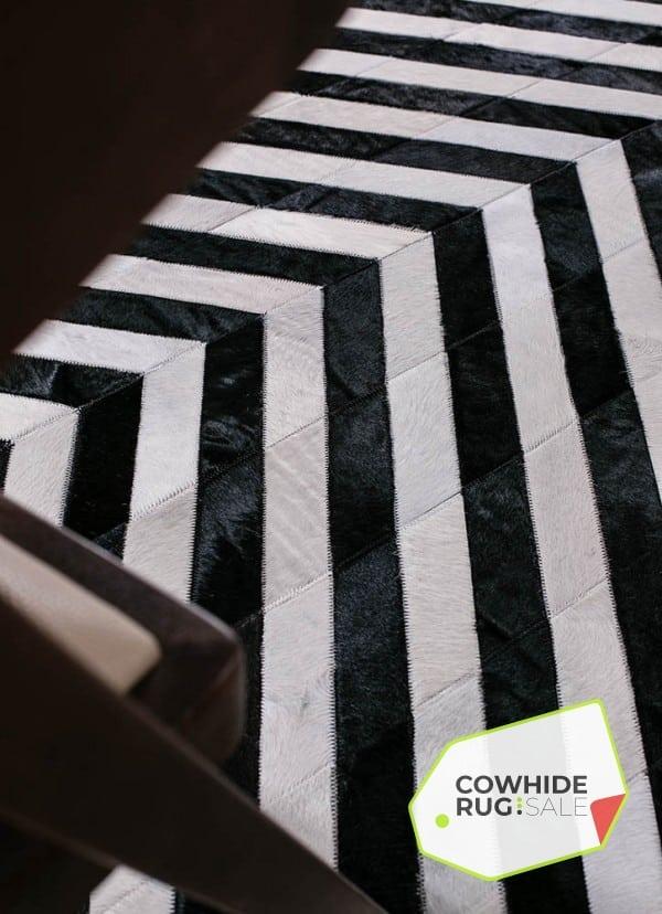 Black And White V Stripe Rug Cowhide Rug Sale