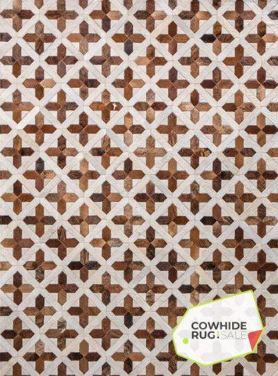 Brown and White Cross Rug