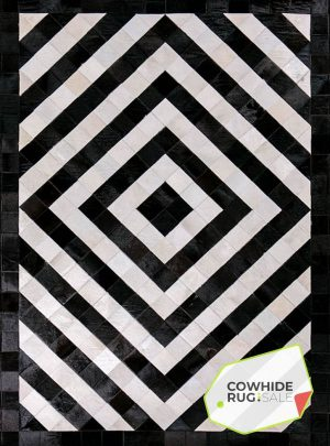 Concentric Diamond Cowhide Rug