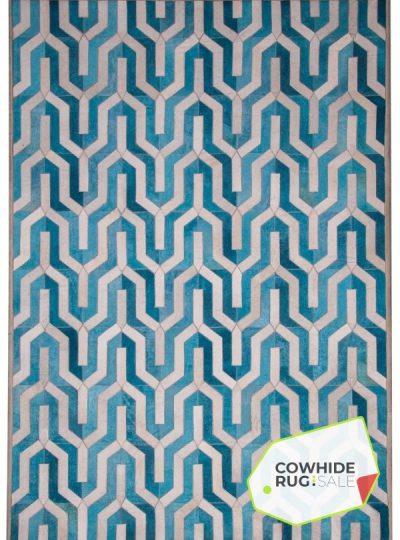 Geometric Blue Cowhide Rug