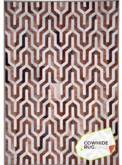 Modern Geometric Cowhide Rug