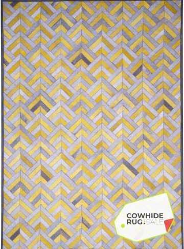 Yellow Chevron Cowhide Rug
