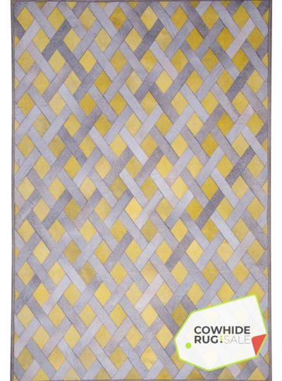 Yellow Lattice Leather Rug